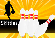 Bowling pin and player background Royalty Free Stock Photography