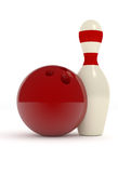 Bowling pin with a red ball. Bowling pin with a red bowling ball on a white background, 3d sports image Royalty Free Stock Photos