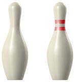 Bowling pin. RGB vector illustration -  created with gradient mesh, 3D model with studio lighting and pathtracing render used for reference Royalty Free Stock Images