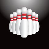 Bowling pin set icon. Close up picture of a set of bowling pins Royalty Free Stock Photo