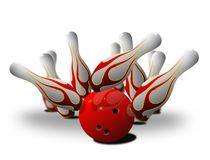 Bowling Pin Strike Over White Stock Image