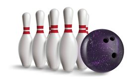 Bowling pin with violet ball isolated on white with gradient Royalty Free Stock Photos