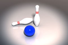 Bowling Pins. And a Blue Ball - 3D Stock Images