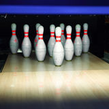 Bowling pins. Closeup view of bowling pins with artistic illumination royalty free stock images