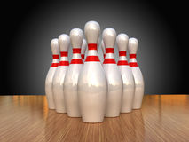 Bowling pins. 3d render of bowling pins on a wooden floor Royalty Free Stock Photos