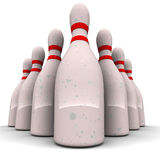 Bowling pins. Against white background, 3d render image, concept of business target ahead Royalty Free Stock Photo