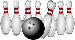 Bowling Pins. Bowling.  Pins falling over.  A fun family sport Stock Images