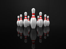 Bowling pins. High quality 3d illustration of 10 bowling pins on a glossy black surface Royalty Free Stock Photo