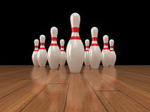 Bowling pins. High quality 3d illustration of 10 bowling pins on a glossy wood surface Stock Images