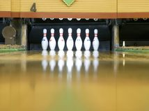 Bowling Pins. On lane four royalty free stock photography