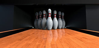 Bowling. Pins on the alley Royalty Free Stock Image