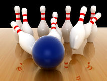Bowling Pins on background. 3d render Stock Images