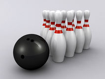 Bowling pins and ball. 3d render of bowling pins and ball Royalty Free Stock Photos