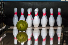 Bowling pins and ball. Bowling ball about to hit a bowling pins stock photography