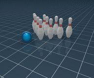 Bowling. Pins and ball on blue background - 3d illustration Stock Image
