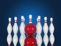 Bowling pins and ball on a blue background Stock Image