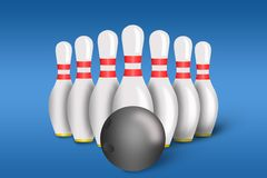 Bowling pins and ball with bowling Stock Photo