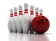 Bowling Pins and Ball Royalty Free Stock Image