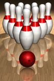 Bowling pins and ball. 3D render of bowling pins and ball Stock Photography