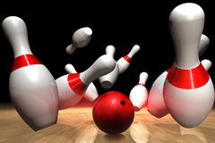 Bowling pins and ball. 3D rendering of a strike on a bowling game Stock Photo