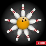 Bowling pins and ball with a flower Royalty Free Stock Image