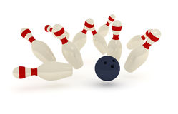 Bowling pins and ball Stock Photos