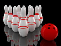Bowling pins and ball with ground reflection. On black Royalty Free Stock Image