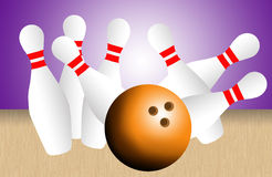 Bowling pins and ball Royalty Free Stock Photos
