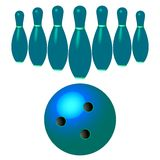Bowling pins and ball isolated on white Royalty Free Stock Photos