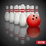 Bowling pins and ball with reflection Stock Photo