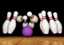 Bowling Pins and Ball Strike Illustration Royalty Free Stock Photography
