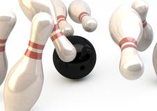Bowling Pins and Ball - Strike Illustration Royalty Free Stock Images