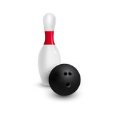 Bowling pins and ball Stock Photo