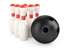 Bowling pins and ball. On white background. 3d render Stock Images