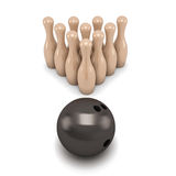 Bowling Pins and Ball on White Background Stock Image