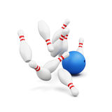 Bowling pins and ball  on white background. 3d rendering Royalty Free Stock Photo