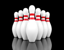Bowling pins on black background. 3D rendering Royalty Free Stock Images