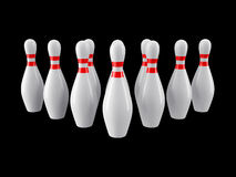 Bowling pins on black background. 3D rendering Stock Photos