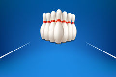 Bowling pins on blue Stock Photo