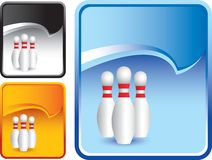 Bowling pins on blue rip curl backdrop Stock Photography