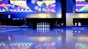 Bowling pins in bowling alley Stock Images