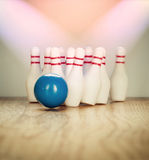 Bowling pins and bowling ball in miniature Royalty Free Stock Image