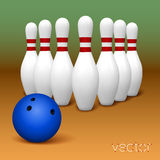 Bowling pins and bowling ball Royalty Free Stock Photography