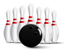 Bowling pins and bowling ball Royalty Free Stock Images