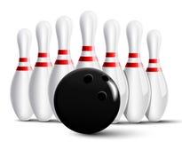 Bowling pins and bowling ball Royalty Free Stock Images