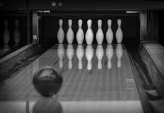 Bowling pins in the bowling club. Black and white stock images