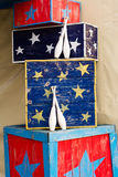 Bowling pins and boxes of a circus. Stars stock photo