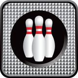 Bowling pins on checkered web button Stock Photo