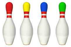 Bowling pins coloured Stock Image
