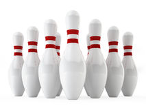 Bowling pins. 3d illustration on white background Stock Images